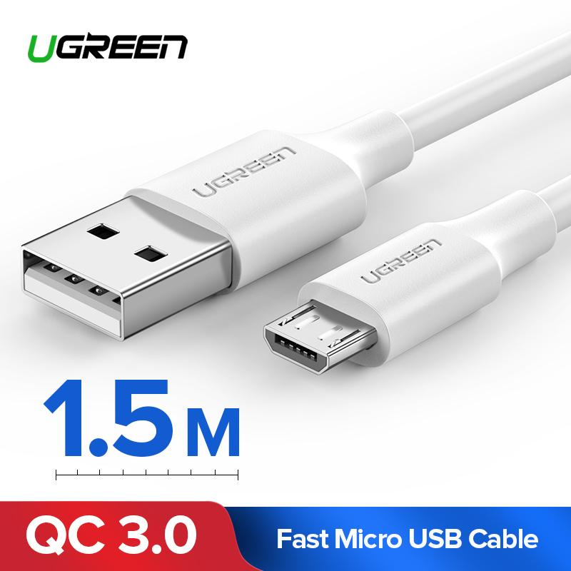 UGREEN Original Kabel Data 1.5Meter Micro USB Cable forSamsung j7, Xiaomi Redmi 5A, sony xperia Z5, Vivo y83, Vivo v9 Handphone hp Fast Charging Data Cord White