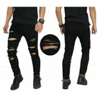Best Seller Celana Jeans Ripped Black Lentur / Celana Jeans Pria Model Sobek  / Celana Pensil Terlaris Termurah / Black Ripped Modis Keren / BANABAS