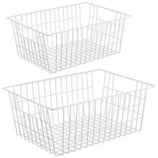 2 Pack Wire Storage Baskets, Farmhouse Metal Wire Basket Freezer Storage Organizer Bins with Handles thumbnail