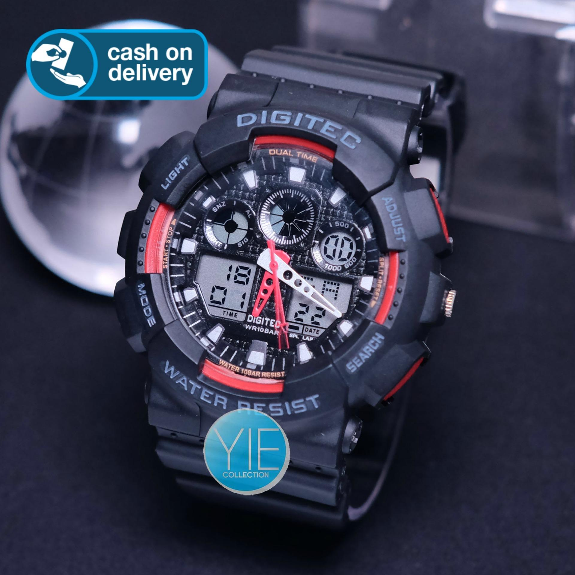 Digitec Original Jam Tangan Pria Army DG 2011 T Dual Time Anti Air - Hitam Merah