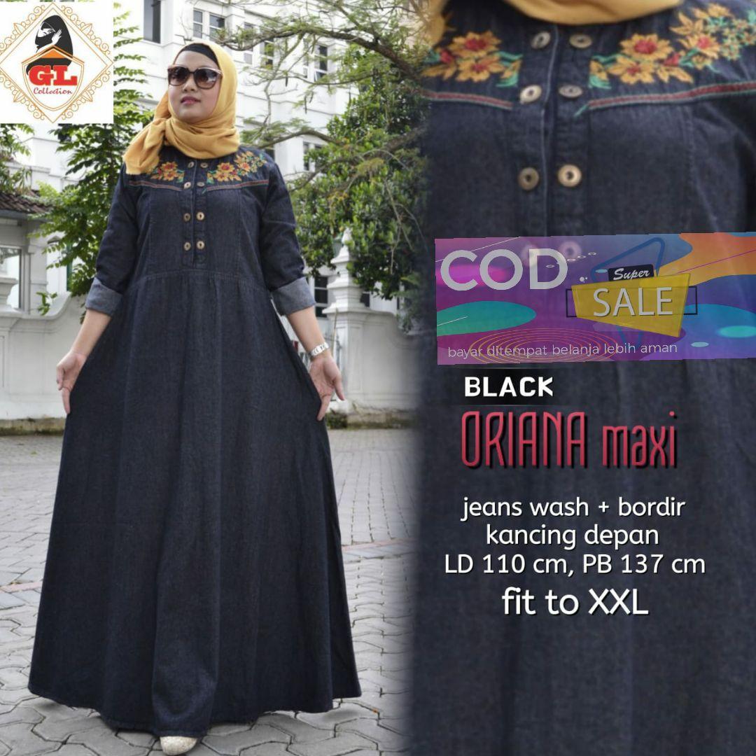 Oriana maxy - dress muslim - baju wanita - dress - pakaian wanita - fashion wanita - gaun panjang - gaun bahan jeans - dress ukuran besar