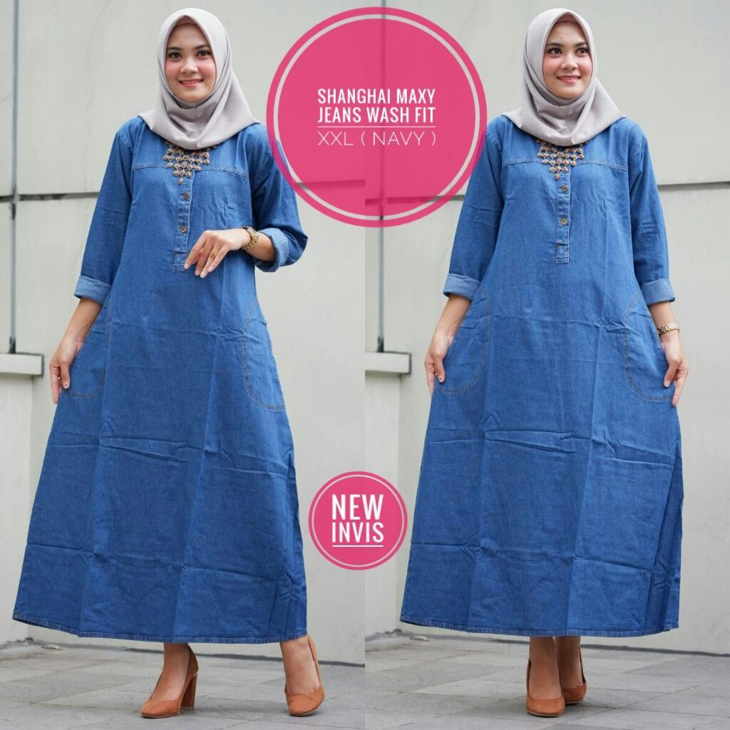 shanghai maxy - pakaian wanita dewasa - baju muslim wanita - dress wanita dewasa - dress bahan jeans - fashion wanita