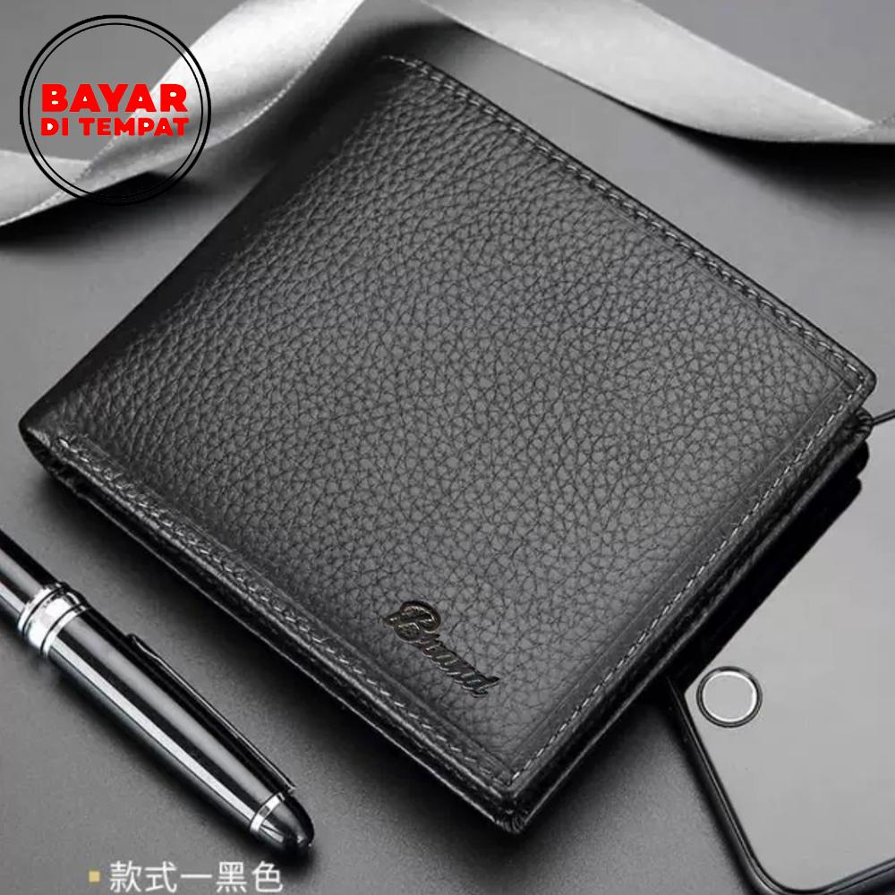 Dc Free Shipping - Brand.co A1171 Dompet Pria Dompet Kulit Pria Dompet Kulit 3/4 Dompet Pria Kulit Asli 100% Genuine Leather Dompet Kartu Dompet Koin Dompet Kulit Ori Dompet Kulit Murah Original - Black + Box By Dimas Collection.