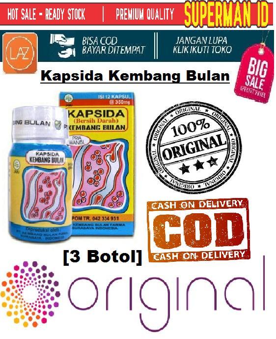 [3 Botol] KAPSIDA Obat Jerawat Ampuh Kapsul Bersih Darah SUPERMAN_ID - Obat Jerawat Kembang Bulan BPOM Original
