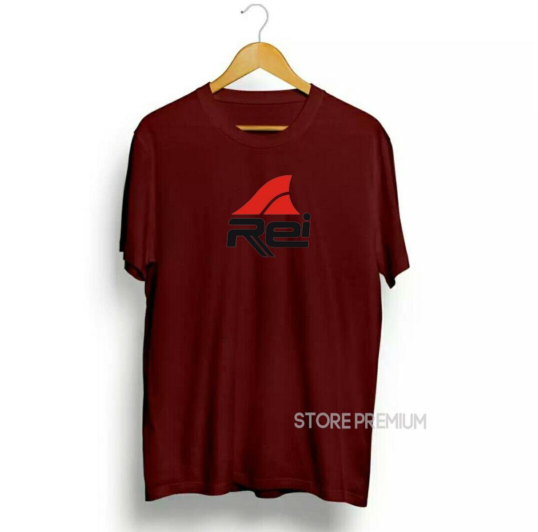 Kaos Distro Rei Premium Quality Text Hitam Logo Merah