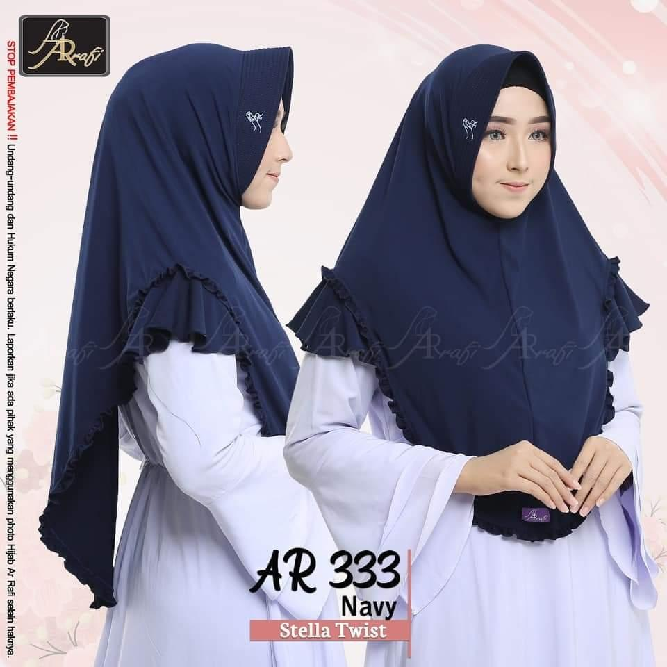Hijab Arrafi AR 333 Navy Jilbab Instan Ar Rafi Bergo Kerudung Khimar