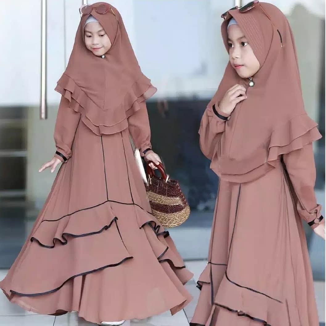 Baju Muslim Modern TAMARA SYARI KIDS MC 9-9 Tahun Bahan MOSSCRAPE Dapat  GAMIS + HIJAB Baju Anak Kecil Baju Anak Perempuan 9 Baju Kids Modern