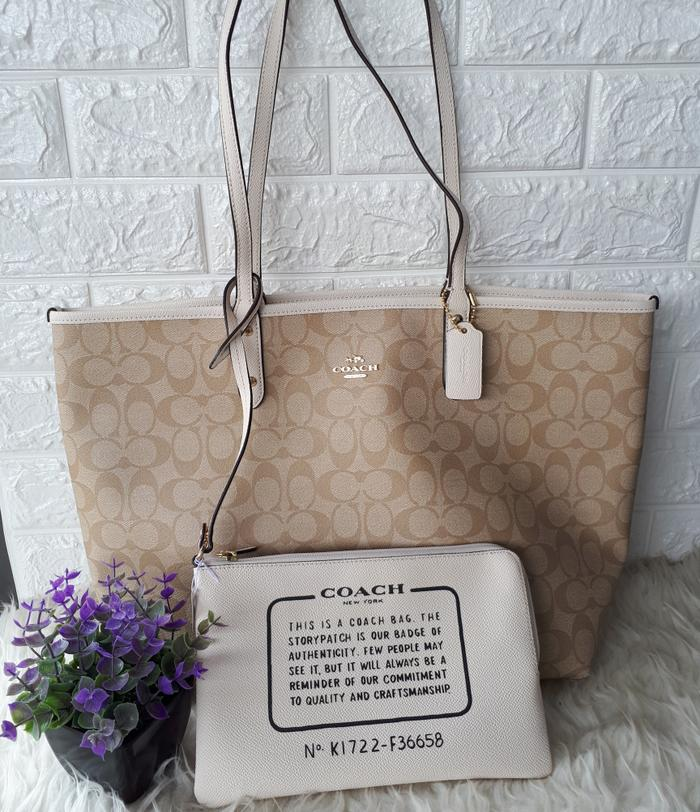 coach reversible tote chalk authentic 91395843ab