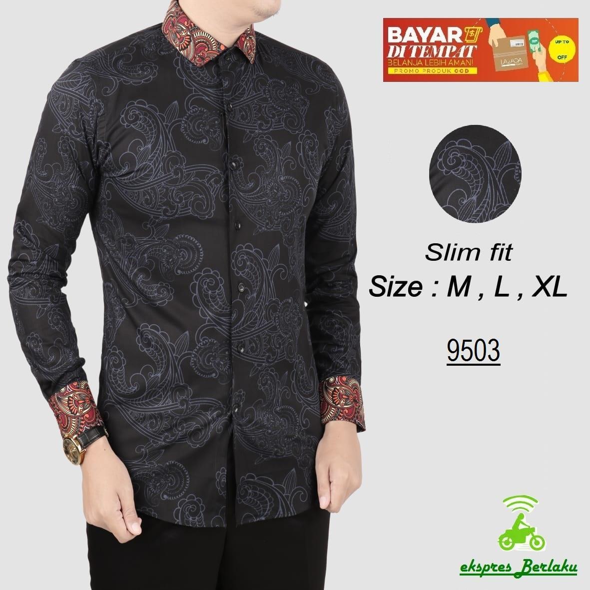 her+man Batik Pria Modern Kemeja Batik Pria Slim fit F1V11 9503