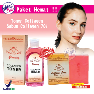 SHINE STAR - PROMO 2IN1 Paket Sabun Collagen 701 Original Plus Toner Whitening 701 BPOM - Sabun Pemutih Badan Dan Wajah - Pembersih Wajah Toner Wajah Glowing thumbnail