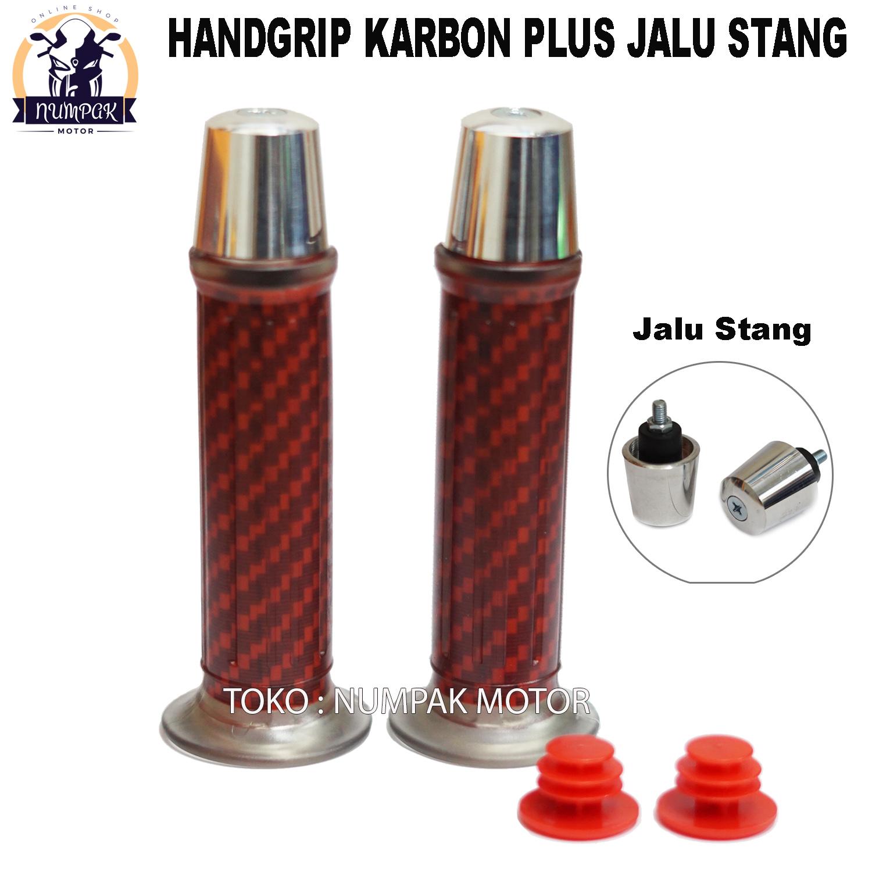 Grip Handgrip Motor Carbon Plus Jalu Chrome Untuk Semua Motor Abu Abu Chrome Lazada Indonesia