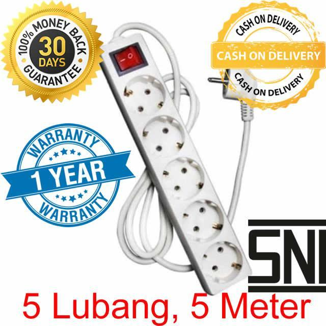 Sunfree Stop Kontak + Kabel 5M 5 Lubang - Putih