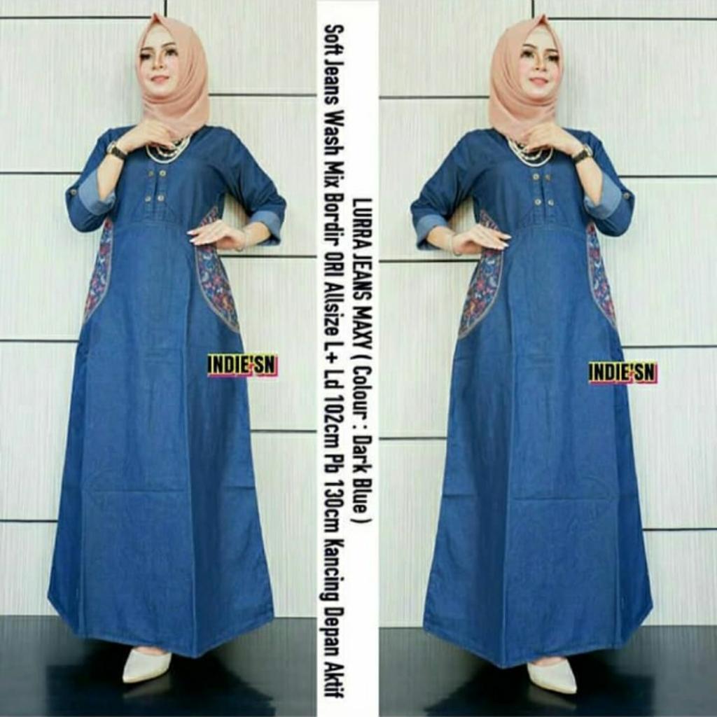 Gamis Syari Modis Lurra Jeans Maxy Baju Casual Untuk Kondangan Style Hijab  Remaja Kekinian Baju Syari Terbaru 10 Baju Buat Kondangan Model Gamis