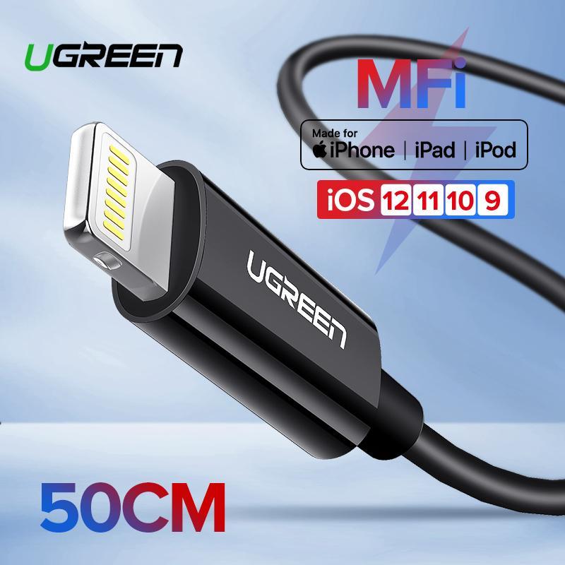 【1 Tahun Garansi】UGREEN Original Kabel 0.5Meter for Apple iPhone IOS12 iPhone 7Plus, XR, XS, X, 8Plus, 6S Plus MFI Lightning Kabel Fast Charging Data Kabel for iPad iPod Black