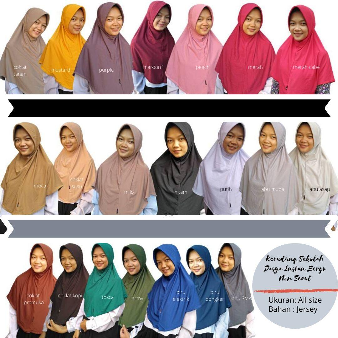 Kerudung Jilbab Dasya Instan Bergo Non Serut All Size Hijab Dasya bahan Jersey Himar Dasya Bahan Lembut Non Serut