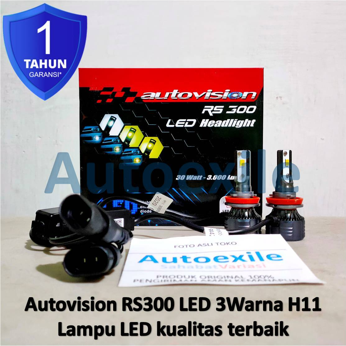 Autovision RS300 LED 3Warna H11 3000K 4300K 6000K Kuning Putih CSP Lampu Mobil Civic Sienta Innova Reborn
