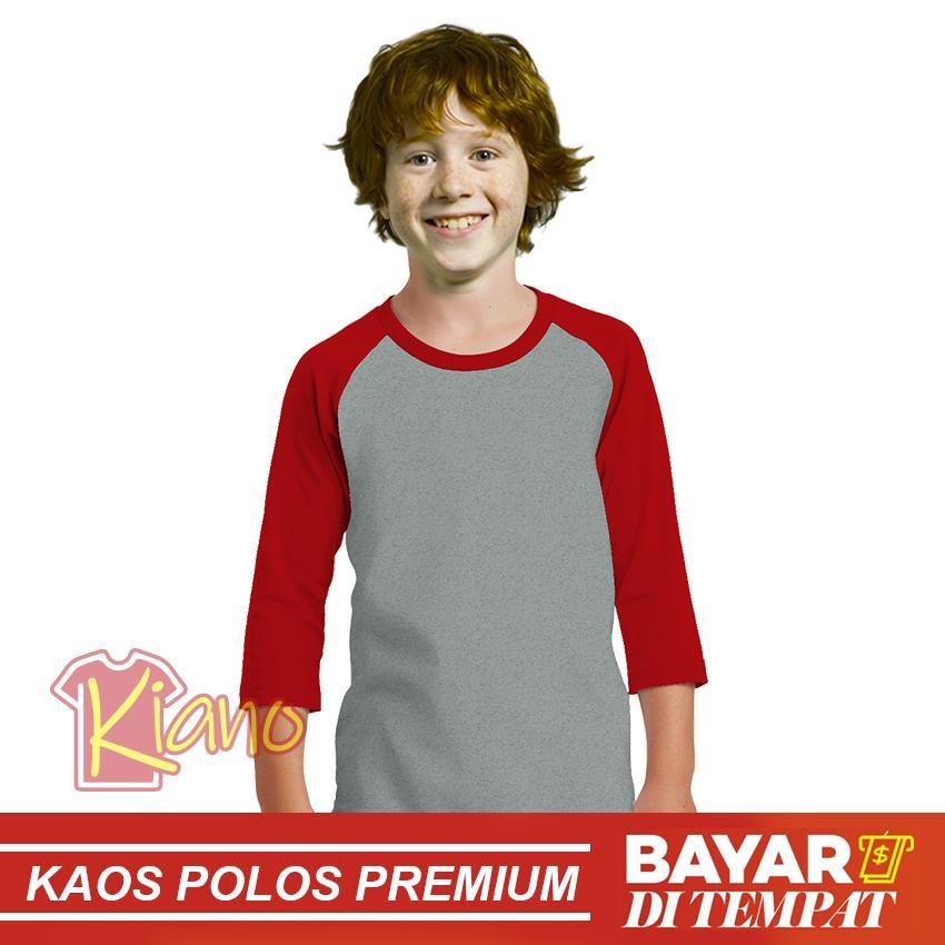 KIANO Kaos Polos Raglan Anak Laki- Laki Premium Misty - Warna Lengan Pendek O-Neck Cotton Combed 30s / Kaos Termurah / Kaos T-shirt Anak Cowok / Tumblr Tee