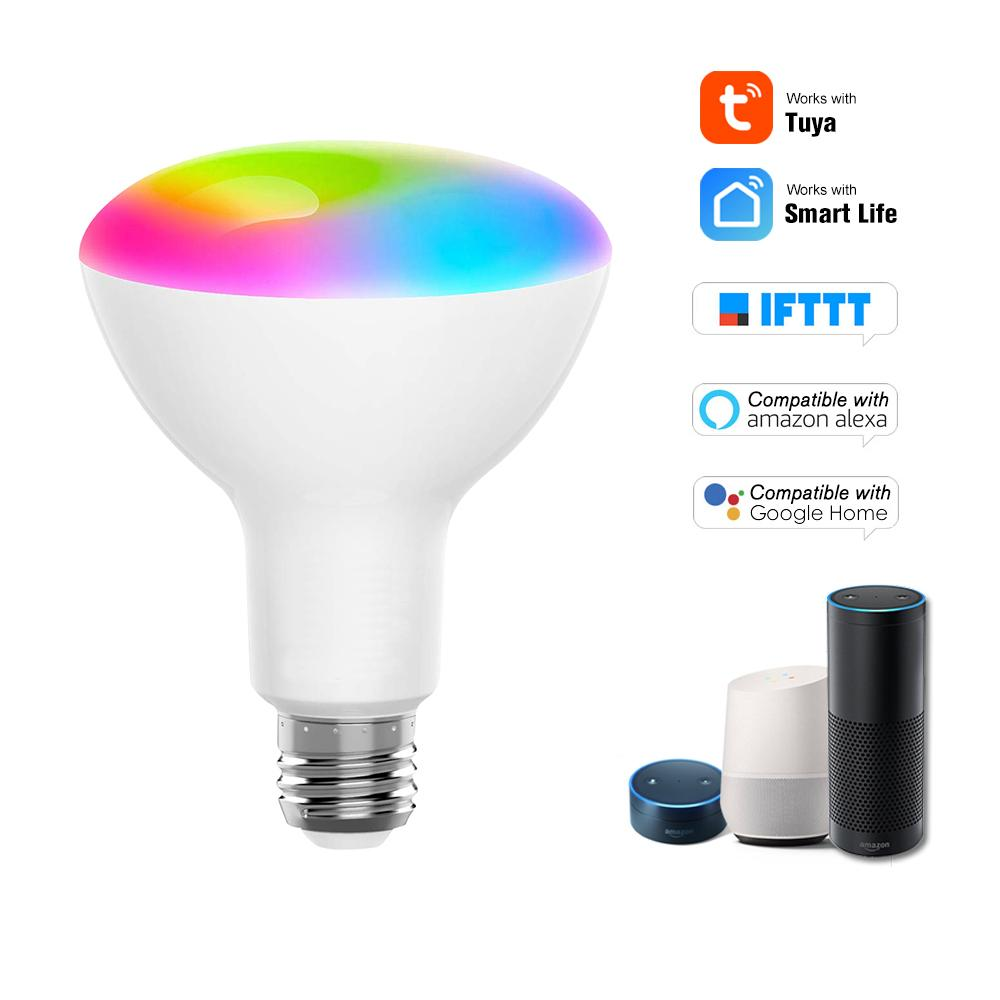 V21 Tuya Smart WIFI LED Bulb RGB+W LED Bulb Support APP Control Compatible with Google Home & Alexa Voice Control 11W B22