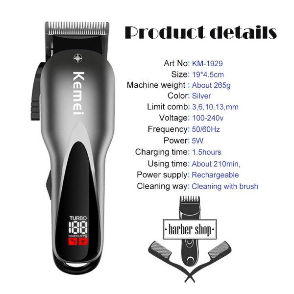 Qooiu Kemei Electric Hair Trimmer LCD Professional Hair Clipper Powerful Hair Shaving Machine 2 Speeds Hair Cutting KM1929