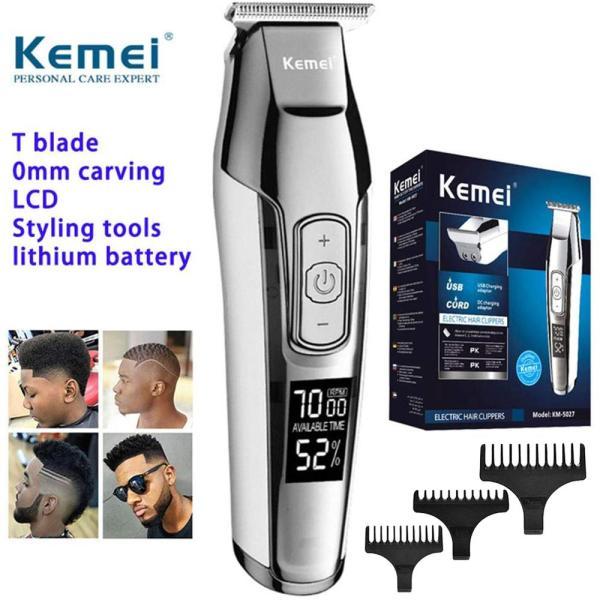 Jiuch Kemei KM-5027 Barber Professional Hair Clipper LCD Display 0mm Baldheaded Beard Hair Trimmer for Men DIY Electric Haircut Machine LED Display Mens Haircut Cutting Razor Machine with 3 Guide Combs