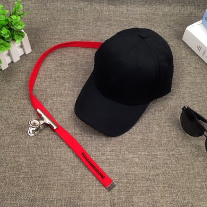 Topi Fashion Trucker Kpop GD Gdragon Peaceminusone PMO Peace Minus One Hitam Tali Merah Panjang Klip Besi