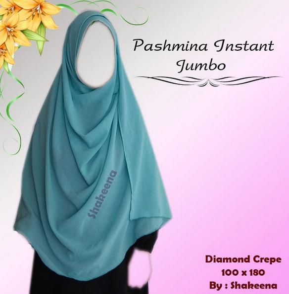 Jilbab Pasmina Instan Jumbo / Pashmina Panjang Syari / Pashmina Instan Syari ukuran besar Bahan diam
