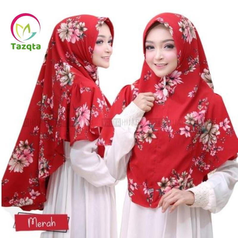 TAZQTA Hijab Khimar Tsurayya - Hijab khimar Kerudung Jilbab Motif Bunga Cantik - Bahan High Quality Bubbleprint Murah Berkualitas