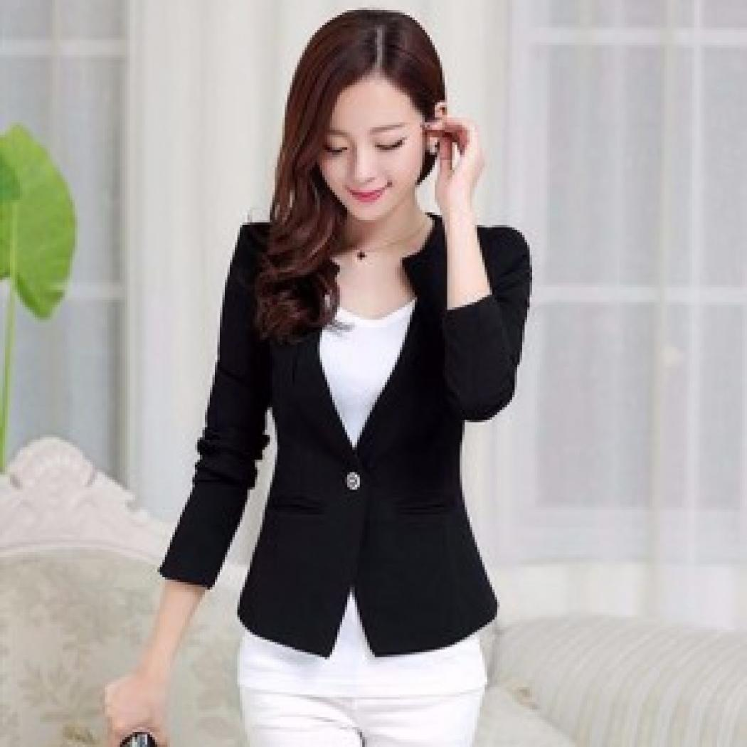 Blazer Long Sleeve Blezer Wanita Berbahan Wool Tebal Pakaian Jas Atasan  Wanita 01ce5a11da