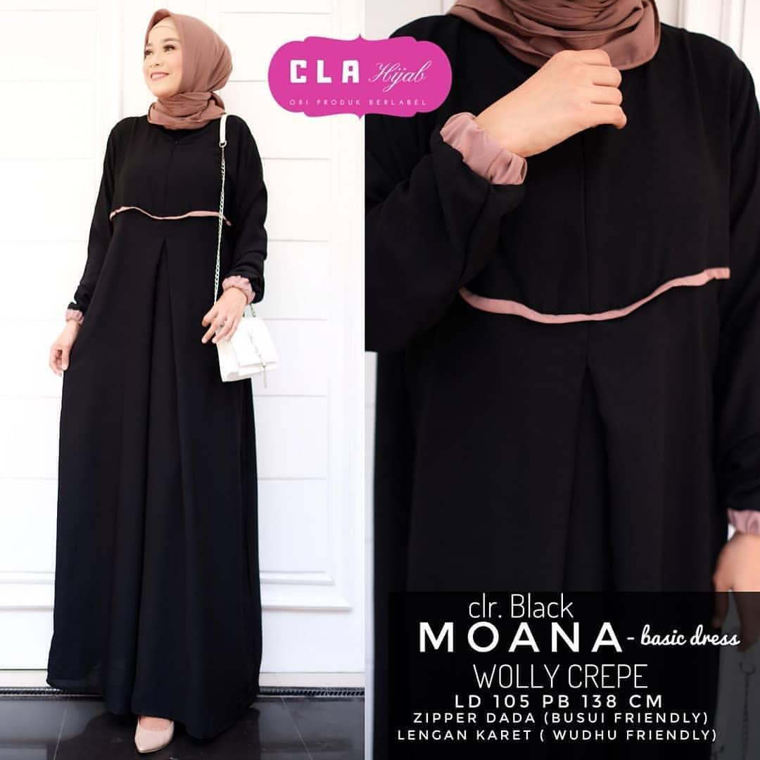 Moana Dress Moscrepe XL Gamis Busui Frendly /Trend Fashion Terbaru