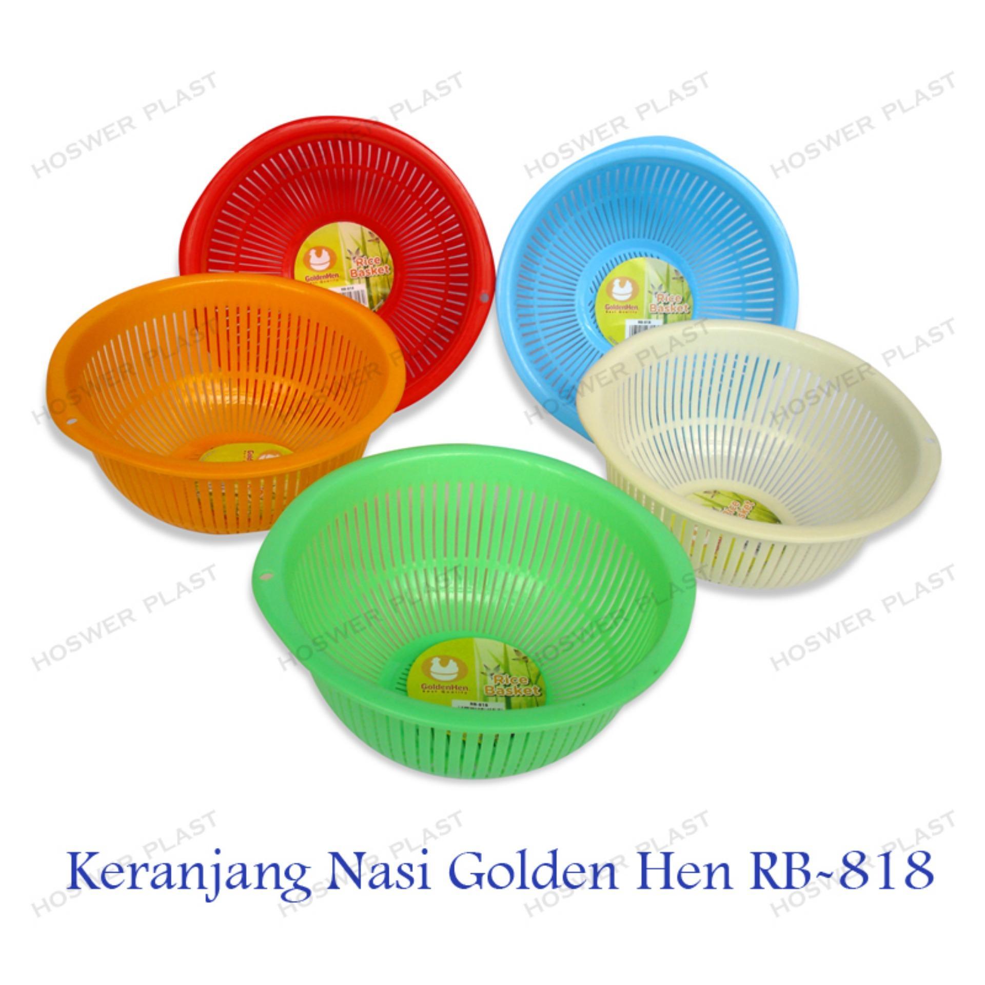 6 Bh Golden Hen Keranjang Nasi Plastik Rb - 818 By Hoswer Plast.