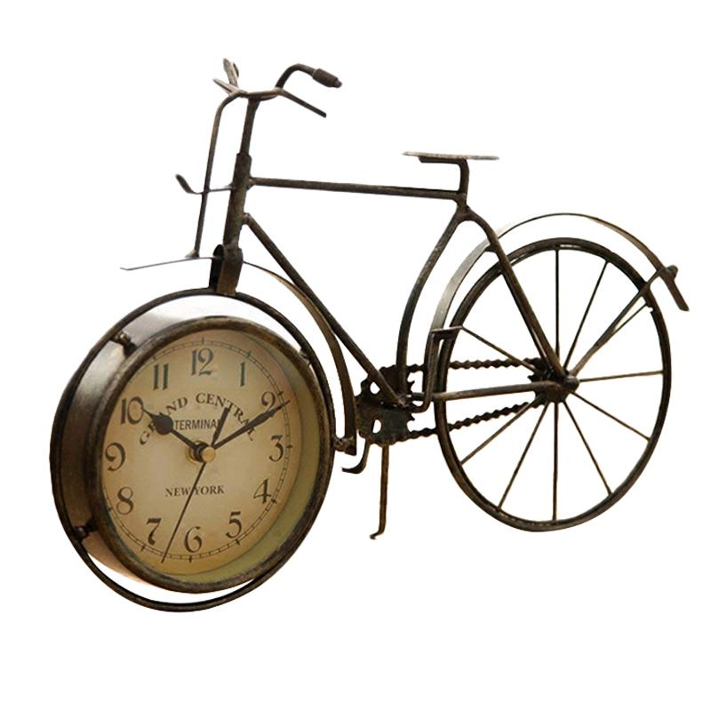 Vintage Iron Bicycle Type Table Clock Classic Non-Ticking Silent Retro Decorative Bike Clock For Living Room Study Room Cafe Bar Office Ornament Gifts Antique Copper-Colored By Ycitc.