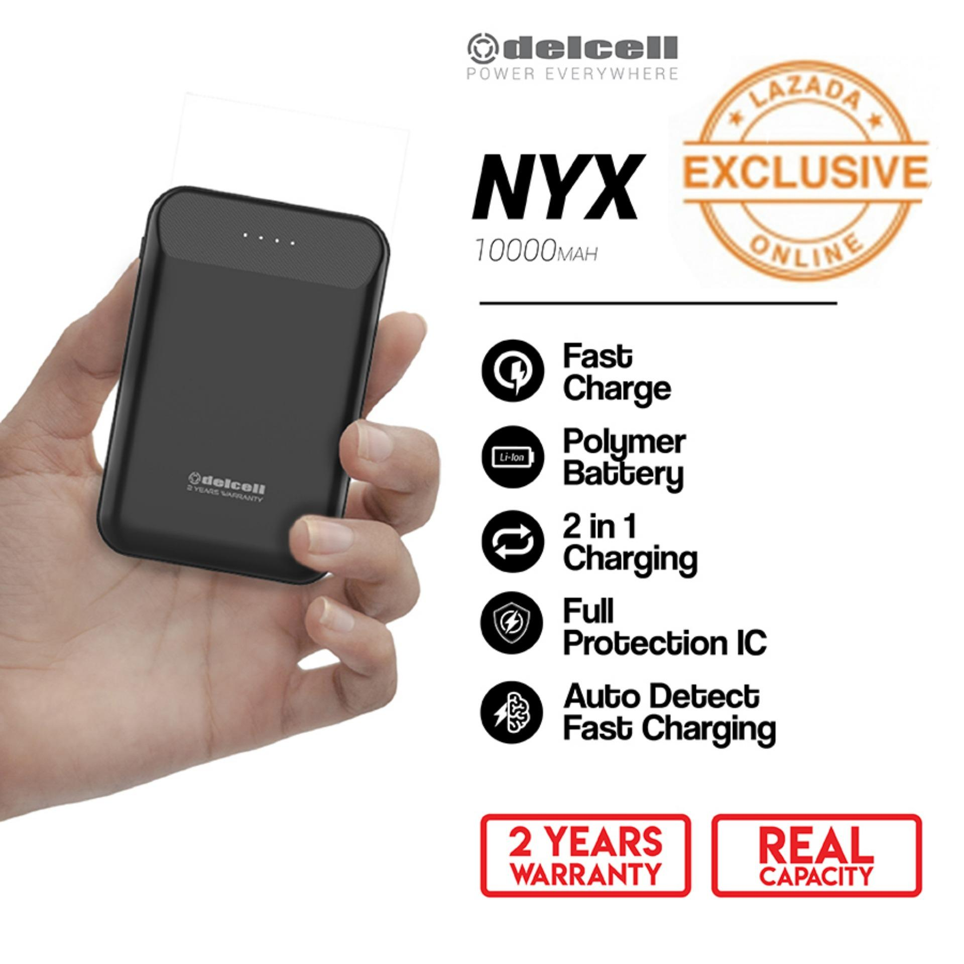 Delcell 10000mAh Powerbank NYX Real Capacity Fast Charging Small Powerbank Polymer Battery Dual Output Garansi Resmi