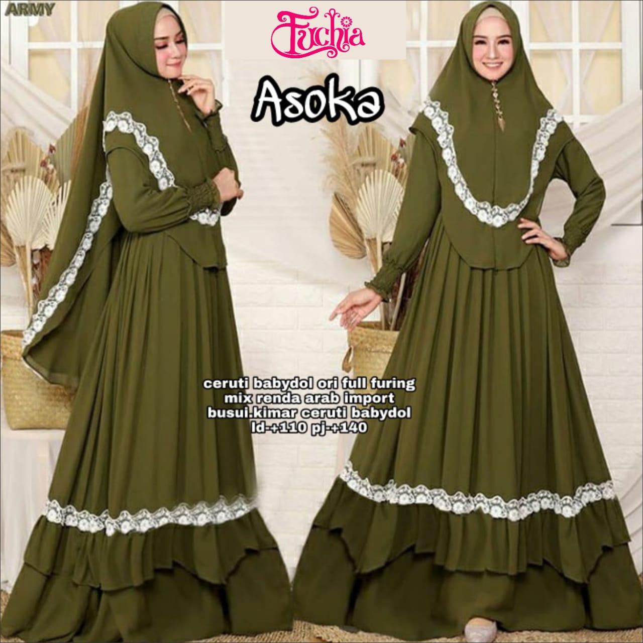 COD Realpict Gamis Asoka Ceruty Babydoll Ori Full Furing Mix Renda Arab  Import Busui Khimar Ceruty Babydoll  Baju Gamis Batik Terbaru  Model  Gamis
