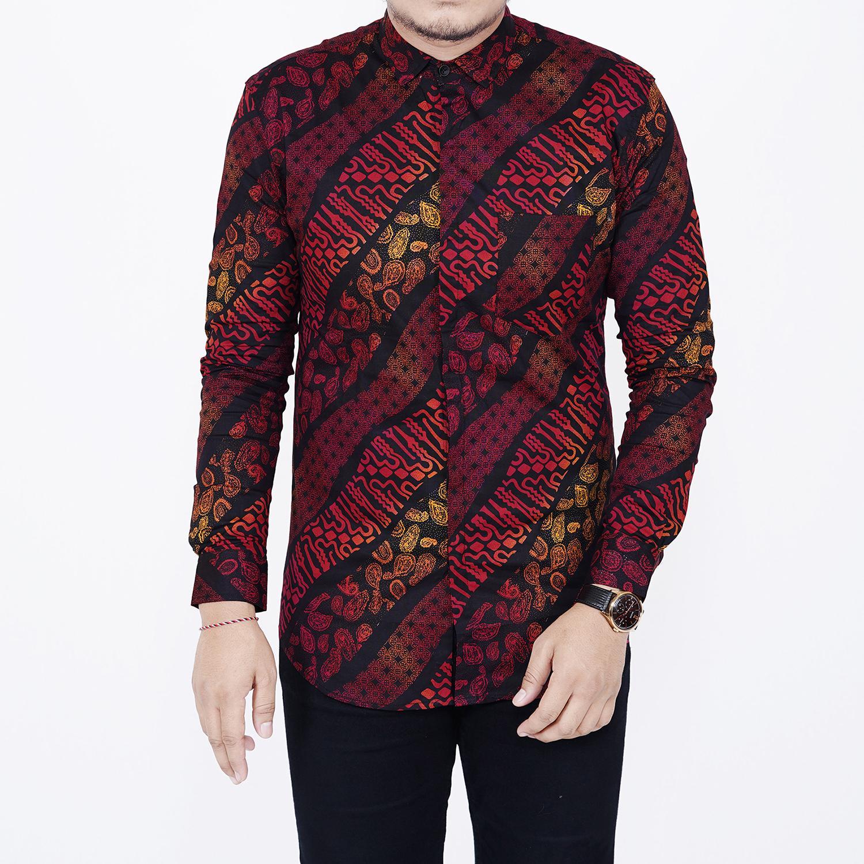 Zoeystore1 6537 Kemeja Batik Songket Pria Lengan Panjang Exclusive Baju Kemeja Batik Formal Kerja Kantoran Kemeja