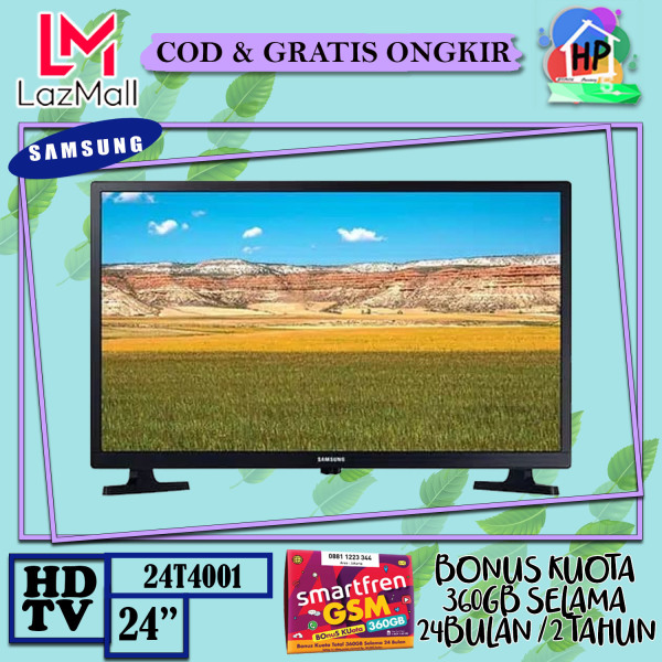 [ENGGAK PUAS ? KEMBALIKAN !!] Samsung LED TV 24 HD TV 24T4001 HD Picture Quality - USB Connection - Clean View + Bonus Smartfren 360GB [COD / GRATIS ONGKIR / GARANSI RESMI]