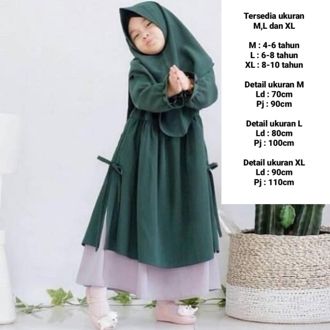 Leticia Kids + Khimar / Baju Gamis Anak / Baju Gamis Anak Perempuan / Baju  Muslim Anak / Gamis Anak Murah / Gamis Anak Terbaru / Syari Anak / Baju