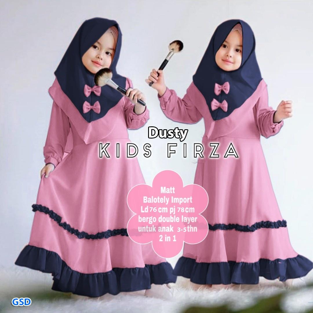 Gamis anak / setelan gamis anak usia 10-10 tahun / baju muslim anak perempuan  / hijab pita anak / Maxi firza kids