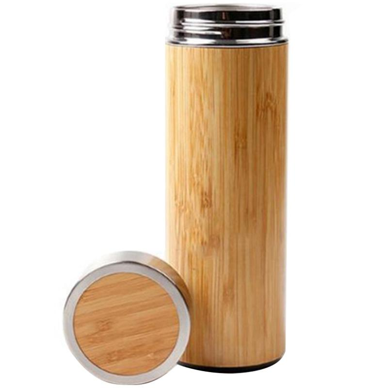 Creative Bamboo Cup Stainless Steel Insulated Water Bottle Coffee Insulation Water Bottle Vacuum Bottle