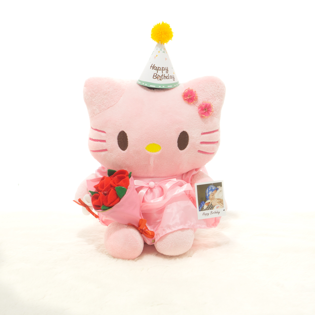 Boneka Ultah Hello Kitty Dengan Buket Bunga Dan Foto Polaroid Lazada Indonesia