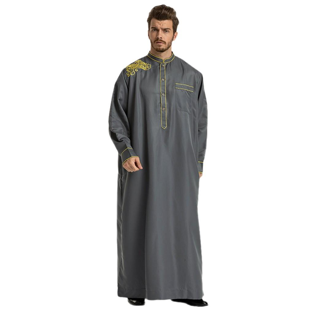 9f882db6440a  Berylshop Men Ethnic Robes Long Sleeve Islamic Muslim Middle East Maxi Dress  Kaftan