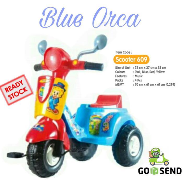 Mainan Anak Scooter Shp 609 Sepeda Roda Tiga Vespa Dorong Music By Solusi Gadget.