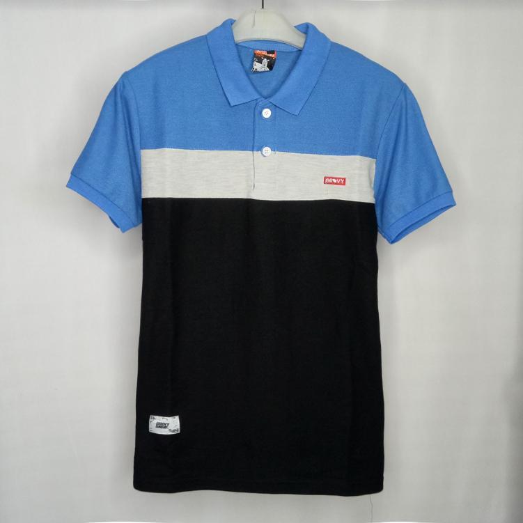 Baju kece polo shirt biru mix abu hitam poloshirt pria kaos kerah pria santai casual elegan model terbaru kaos kerah kombinasi 3 warna kaos distro
