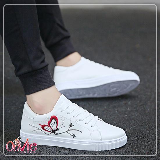 Onvie Sepatu Kets Wanita Bordir Kupu Kupu - Sneaker Wanita Bordir
