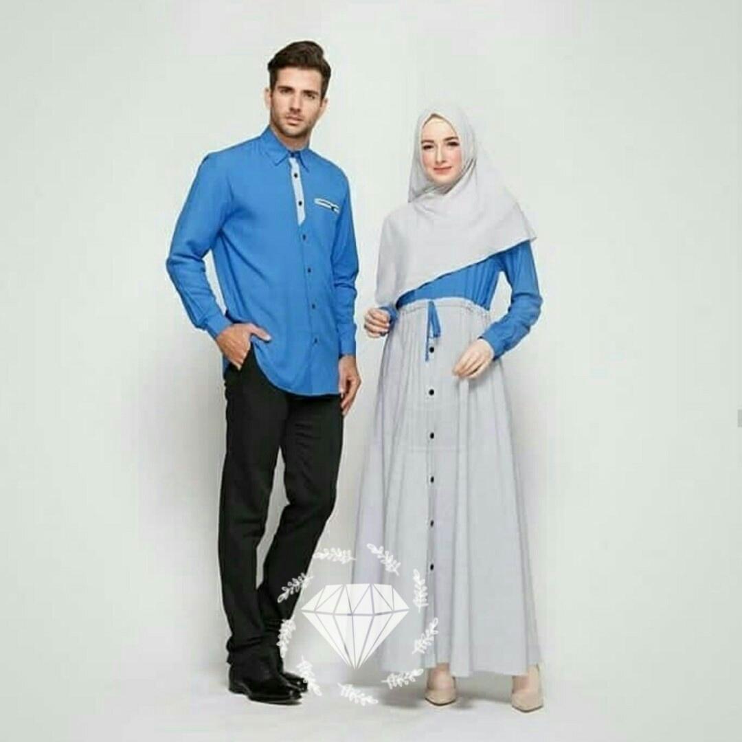 trendshopee Pakaian Couple Azzura 3in1 Kemeja Pria Dan Setelan Gamis Wanita