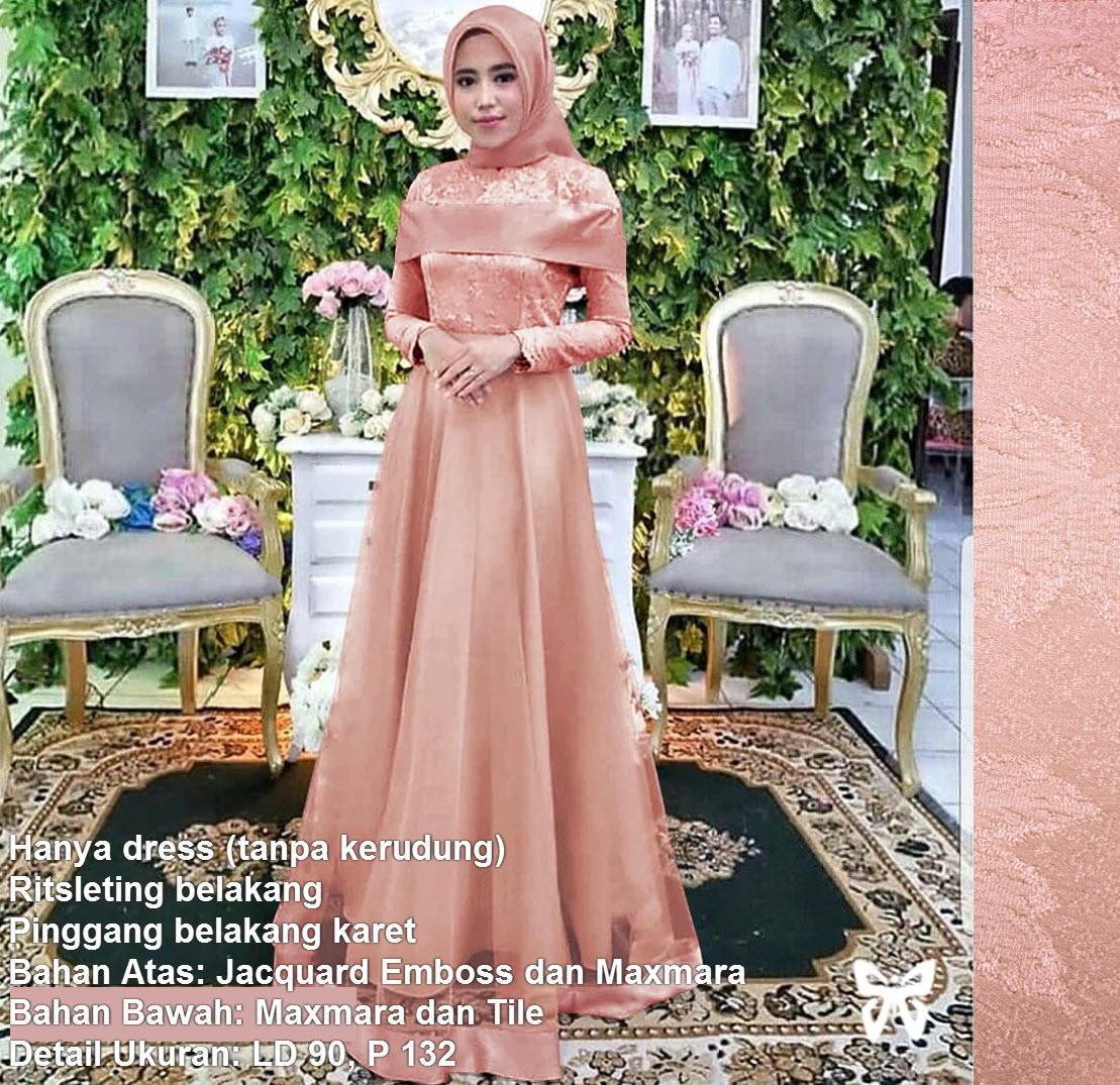 Maxi Dress Lengan Panjang Tile Msr302 / Gamis Syari / Gaun Pesta Muslimah / Baju Muslim Wanita Syari / Hijab / Promo Diskon Lebaran Sale / Srazalea By Sera Outfit.