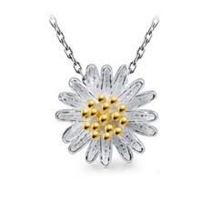 Daisy Bunga Matahari Berlian Putih Kuning Berlapis Emas Desi Pendant Kalung Kuning