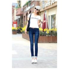 Dark Blue Slim Jeans untuk Wanita Kurus Tinggi Pinggang Jeans Wanita Biru Denim Celana Pensil Peregangan Pinggang Wanita Jeans Biru Celana Calca Feminina-Internasional