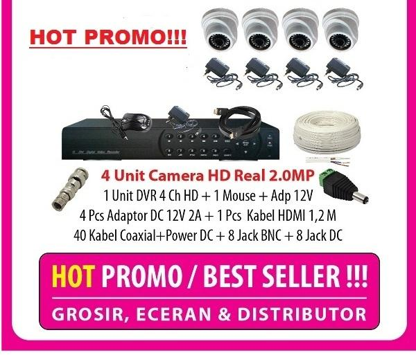 Harga Lagi Promo Paket 4 Camera Full HD 1080p Real 2MP 1 DVR 2MP 5in 1 Lengkap Tinggal Pasang