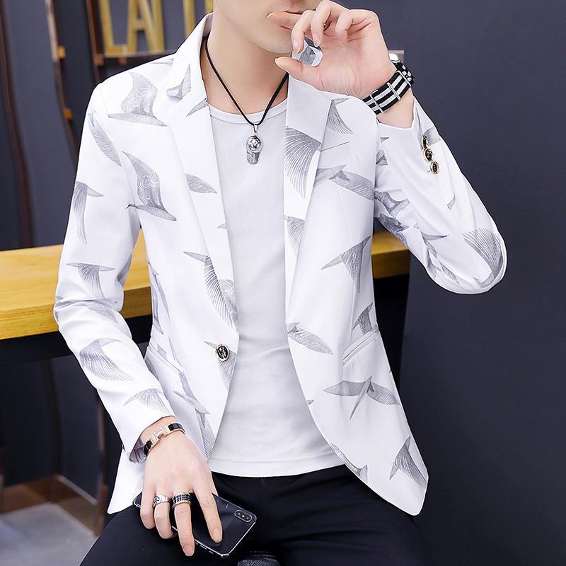 Pria Gaya Korea membentuk tubuh Setelan jas kecil pria kepribadian Tren bersablon Setelan formal Atasan anak