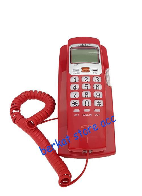Sahitel Telepon Kabel dengan LCD Single Line S37 - Merah